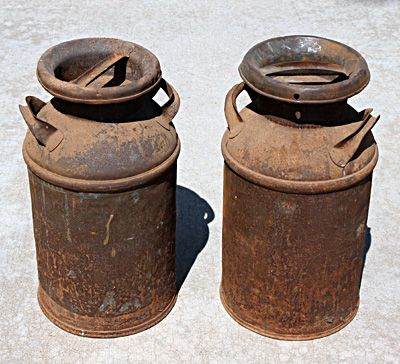 I Remember When My Dad Used To Haul Milk To The Factory In These I Still Have A Couple Old Milk Cans Vintage Milk Can Milk Cans