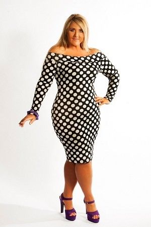 Curvy Fashionista Black Polka Dot Dress Black Polka Body Con Dress