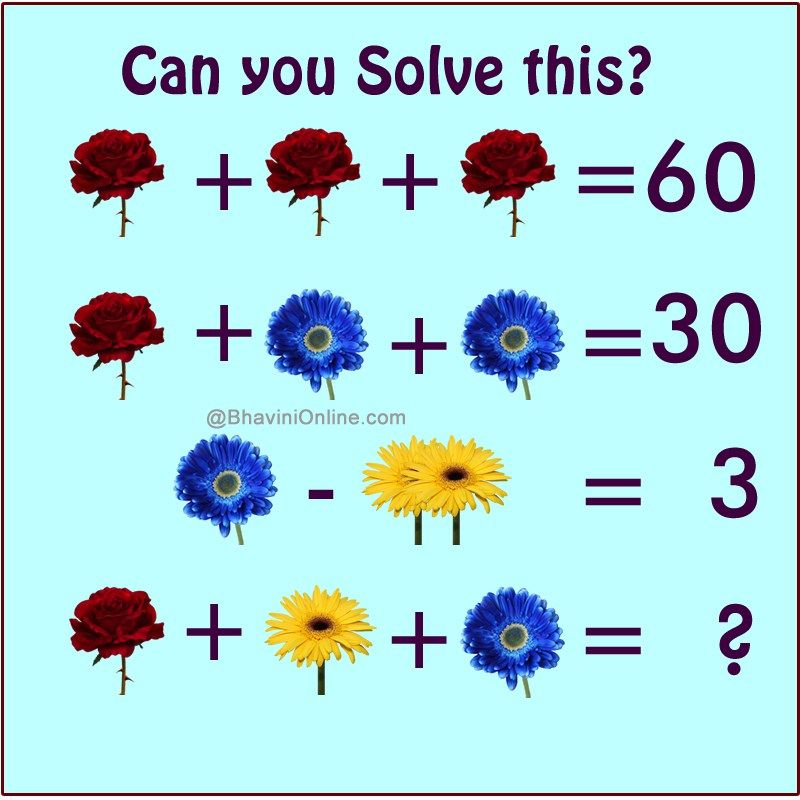 Fun Math Riddle Find The Sum Of Flowers Bhavinionline Com Math Pictures Math Riddles Brain Teasers For Kids