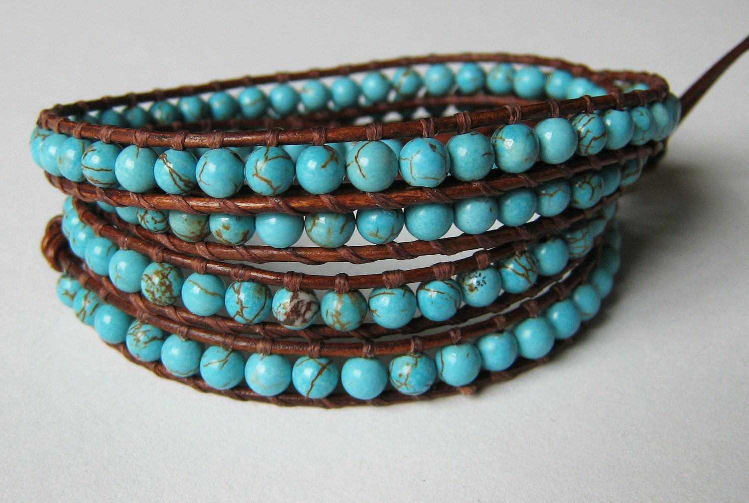 Turquoise and leather wrap bracelet - beautiful :)
