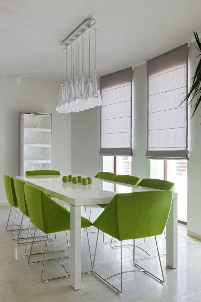 moderne esszimmer frische farben grn weiss hochglanz wohnideen design - Esszimmer Weiss