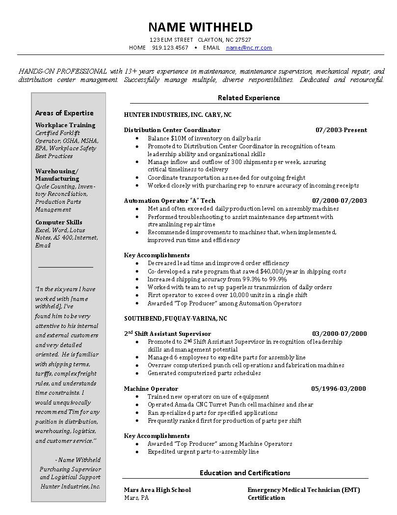 Warehouse Manager Resume Examples - http://www.resumecareer.info ...