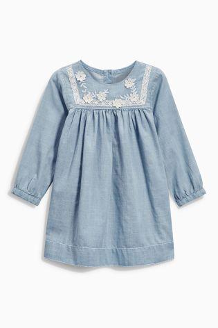 Buy Denim Lightweight Dress With Contrast Appliqué (3mths-6yrs) from the Next UK online shop