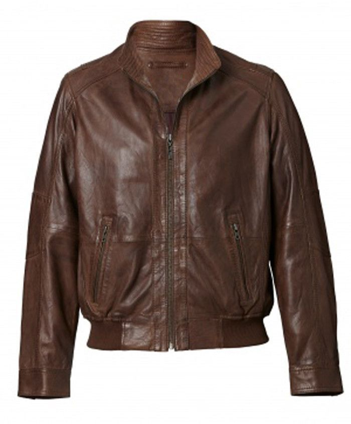 Austin Mens Leather Bomber Jacket