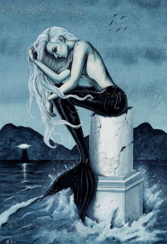 Fantasy Art PRINT Mermaid Dragon Sea Night Gothic Navy Blue Night Ocean Dark