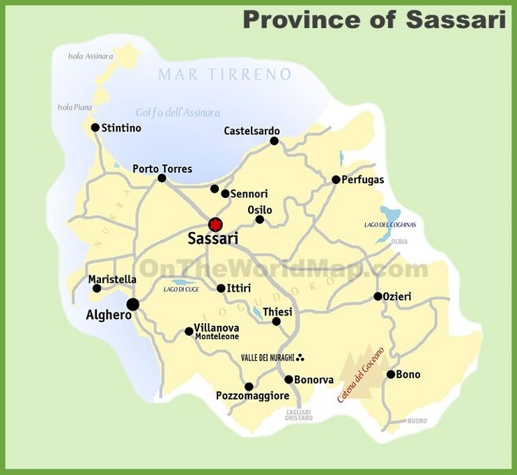 Province of Sassari map Maps Pinterest Italy and City