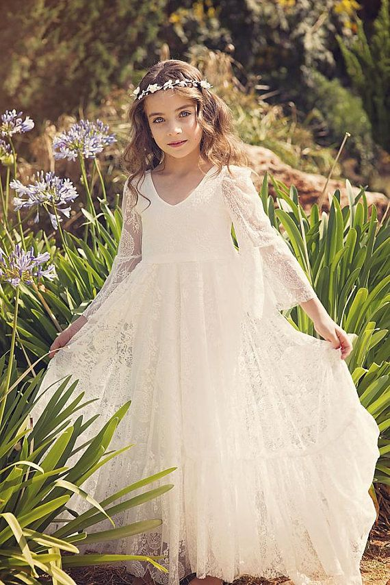 First Communion Dress, Flower Girl Off White Lace Dress, Boho-chic ...