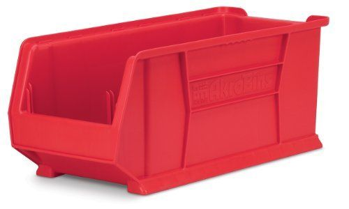 Akro Mils 30287 24 Inch D By 11 Inch W By 10 Inch H Super Size Plastic Stacking Storage Akro Bin Red Case Stackable Storage Bins Storage Plastic Storage Bins