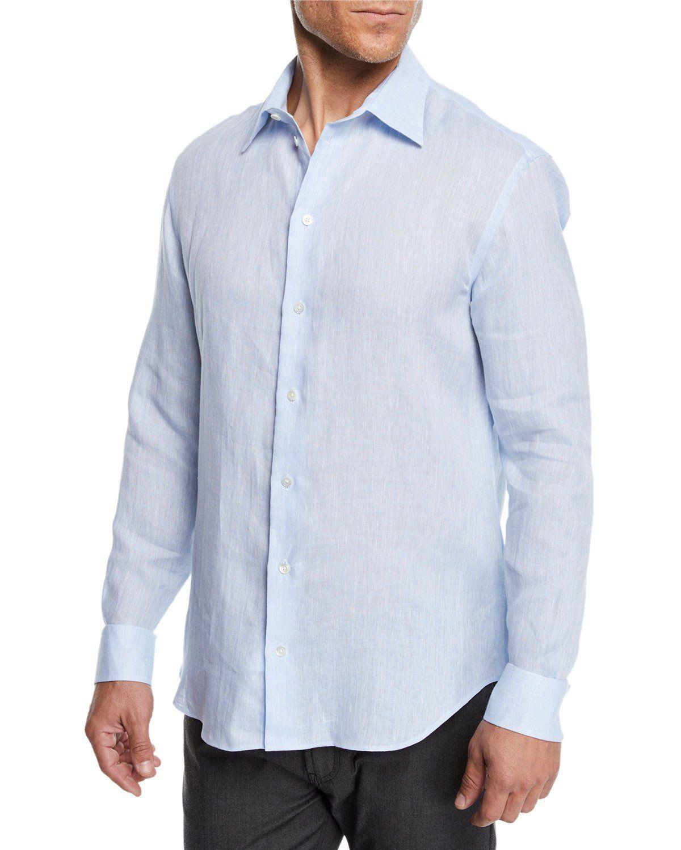 8eb4ab40 EMPORIO ARMANI MEN'S LINEN SPORT SHIRT, LIGHT BLUE. #emporioarmani #cloth