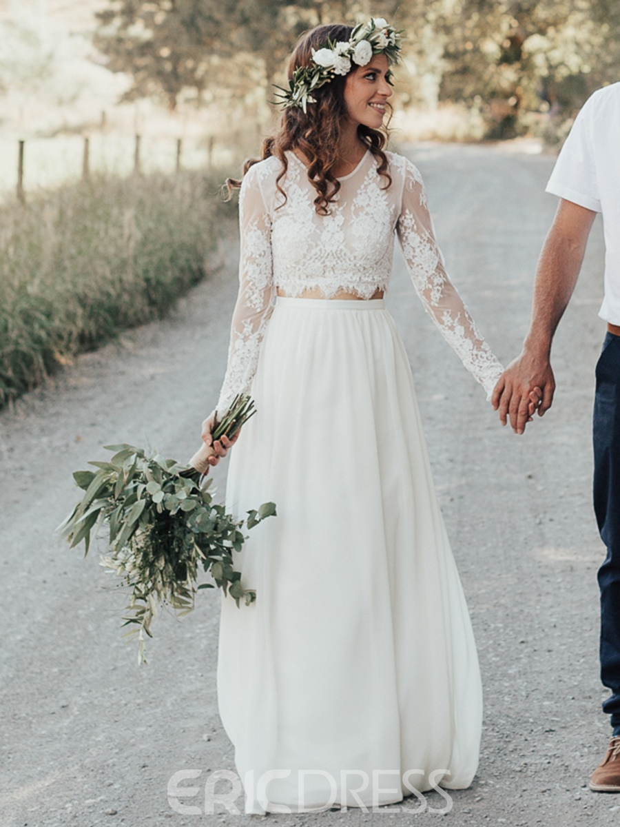 Ericdress 2 Pieces Button Lace Country Wedding Dress Lace Beach Wedding Dress Two Piece Wedding Dress Wedding Dresses Lace [ 1200 x 900 Pixel ]