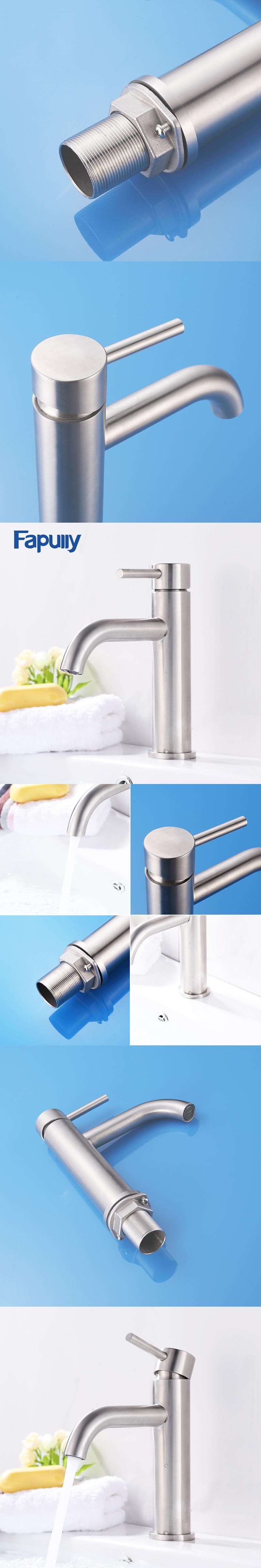 Fapully Bathroom Basin Faucet Brushed Nickel Deck Mounted Stainless ...