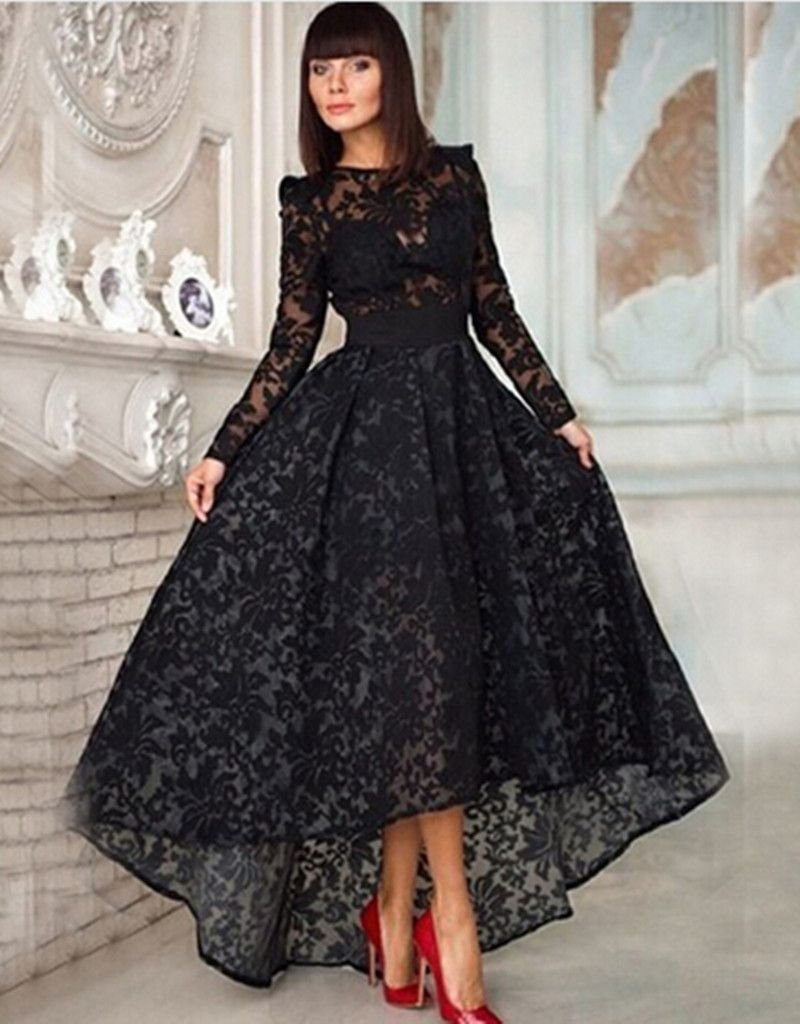 Formal black dress with lace long sleeves