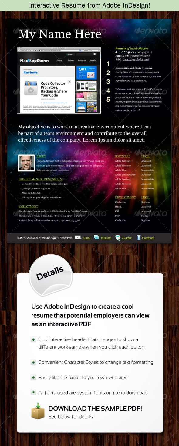 Interactive Resume from Adobe InDesign