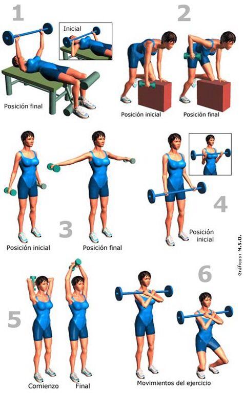 Rutina r pida para brazos con mancuernas fitness pinterest mancuernas brazos y rutinas - Plan de entrenamiento en casa ...