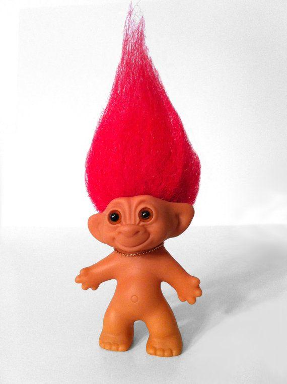 2 RED Hair mini TROLL DOLLS