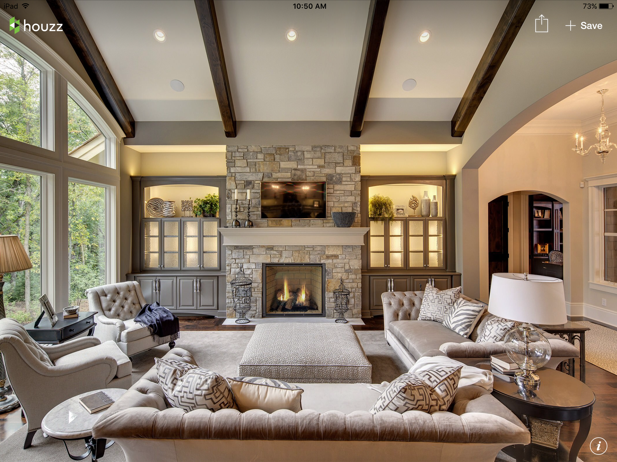 Rustic Family Room Rustic Family Room With Stone Fireplace And Beams Family Rooms I