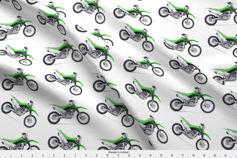 Dirt bike fabric green dirt bike by klinkermade printed on fleece