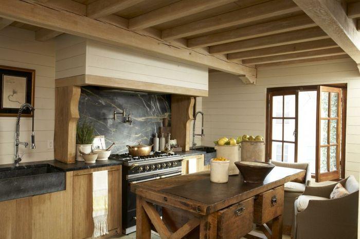 Küchen Im Landhausstil Schöne Wandgestaltung Hölzerner Rustikaler Esstisch