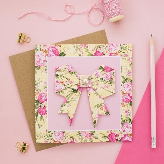 Photo of Rosa und gelbe Blumen-Origami-Bogen-Gruß-Karte – Hochzeitskarte – Binden Sie den Knoten – Muttertag – Großmutter – Geburtstag – Dankeschön-Karte