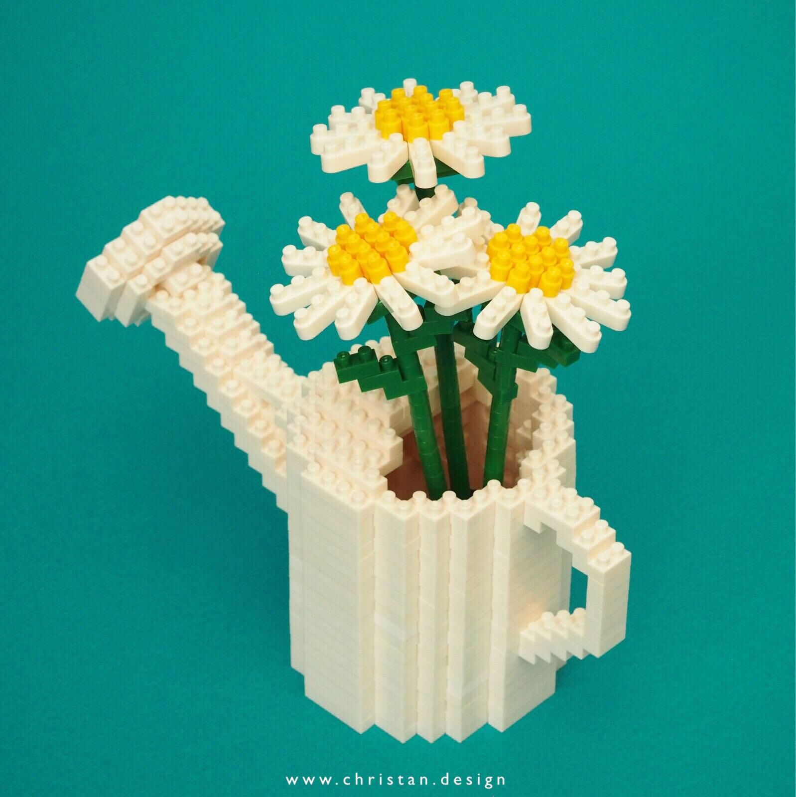 nanoblock Daisies in a watering can Lego flower, Lego