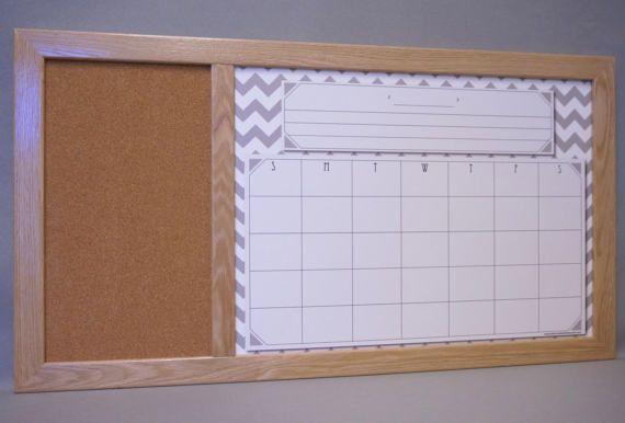 Whiteboard Calendar Cork Board Gray Chevron Monthly Planner