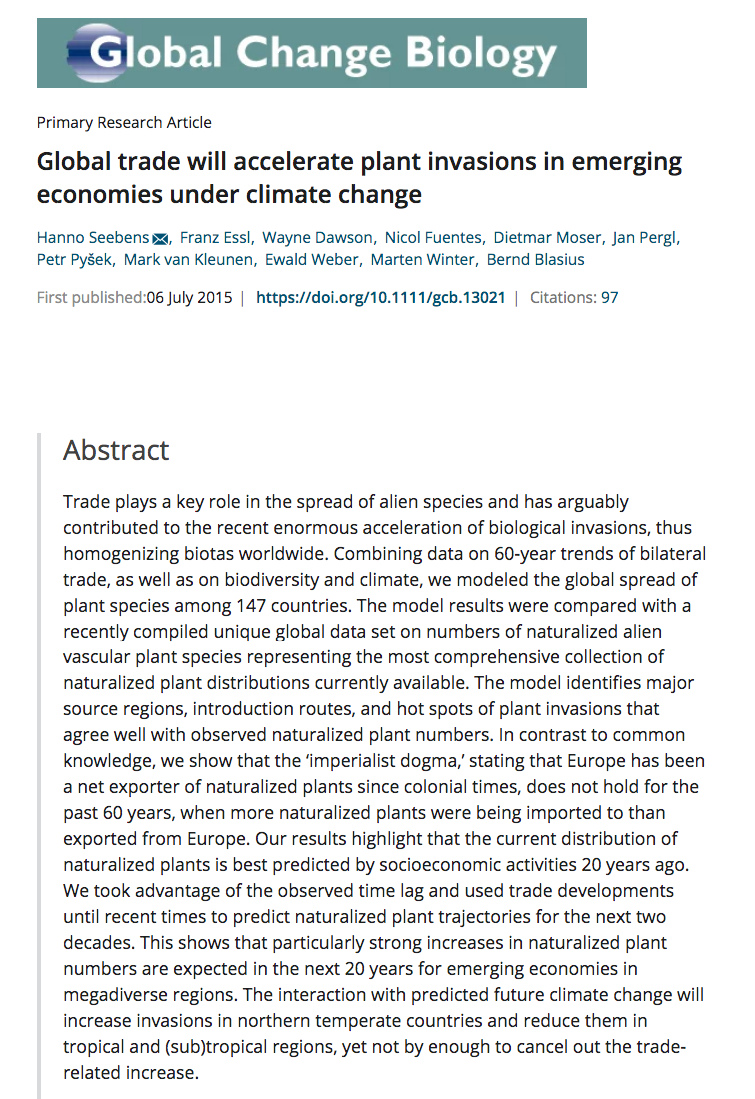Seebens H Essl F Dawson W Fuentes N Moser D Pergl J Et Al 2015 Global Trade Will Accelerate In 2020 Faculty Of Science Climate Change Acceleration