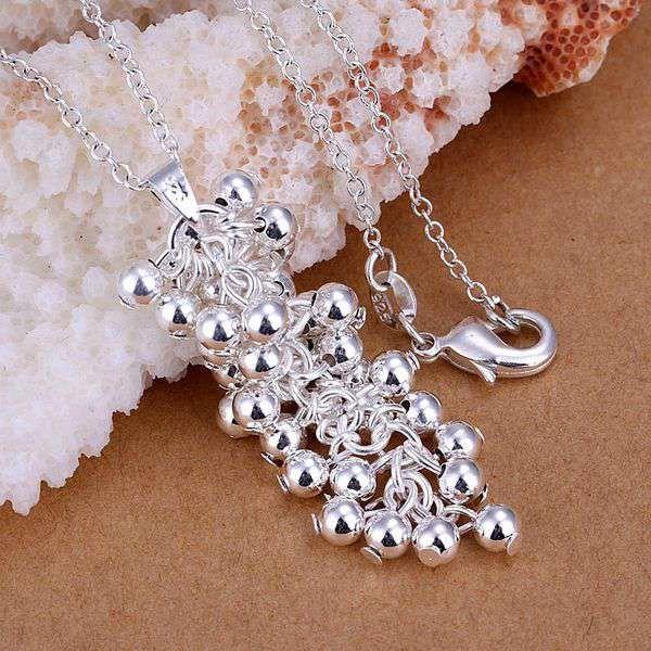 Freies Verschiffen Modeschmuck Halskette Kettenanhänger Ketten, 925 Schmuck Silber überzogene Halskette Grape Herbst obgh ulrg