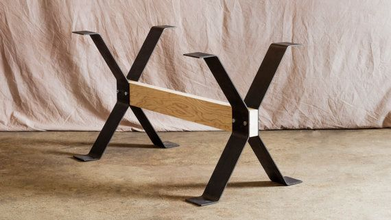 kitchen table legs cabinets indianapolis free shipping trestle style steel dining timber forge