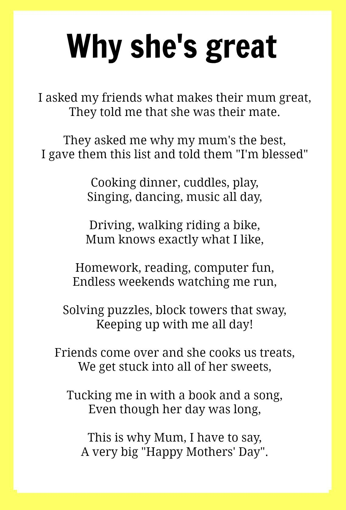 Happy Mother's Day poem adapted from speaking-domestically.com ...