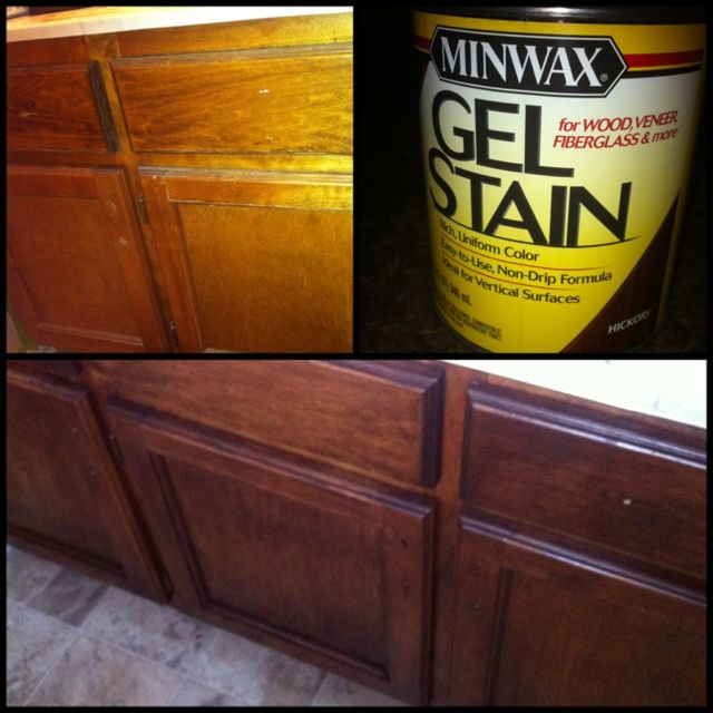 I used a Gel Stain from Home Depot to update my old bathroom cabinets!