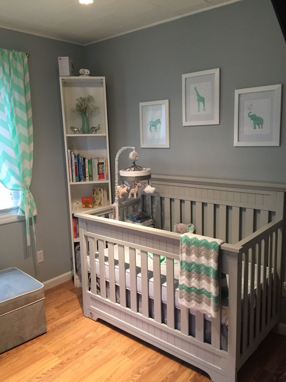Our Little Baby Boy S Neutral Room: Neutral Mint Grey Safari Nursery Baby Room. Boy Or Girl