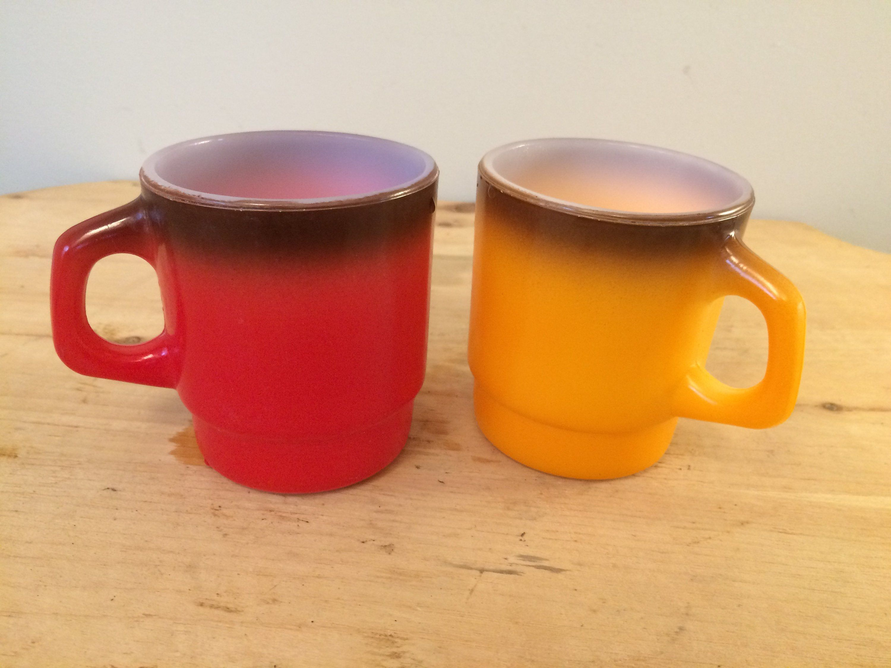 b28c6dc351f Set of two vintage red and yellow Fire King milk glass coffee mug ...