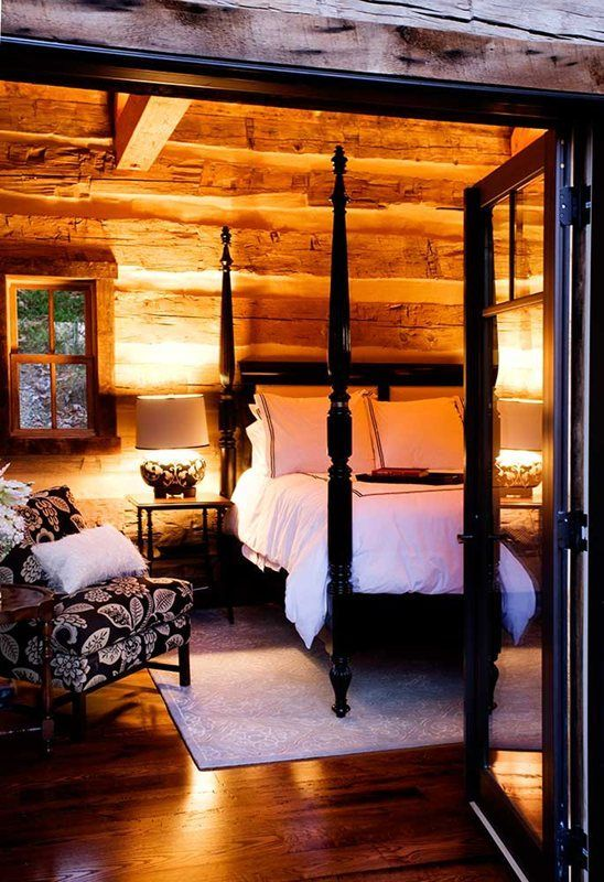 Cozy cabin bedroom charmed by rustic in 2019 log home - Log cabin bedroom decorating ideas ...