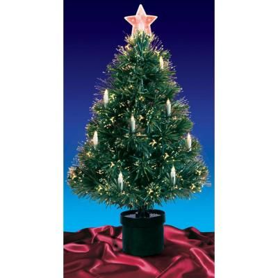 Northlight 4 Ft Pre Lit Multi Lights Fiber Optic Artificial Christmas Tree With Candles 32911569 The Home Depot Fiber Optic Christmas Tree Artificial Christmas Tree Traditional Christmas Decorations