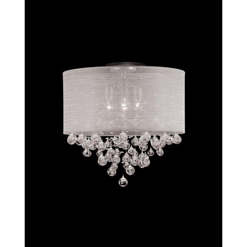 Bedroom Crystals Round Canopy Silver Textured Silk Flush Mount Bedroom Light Fixtures Ceiling Fan Chandelier Bedroom Ceiling Light