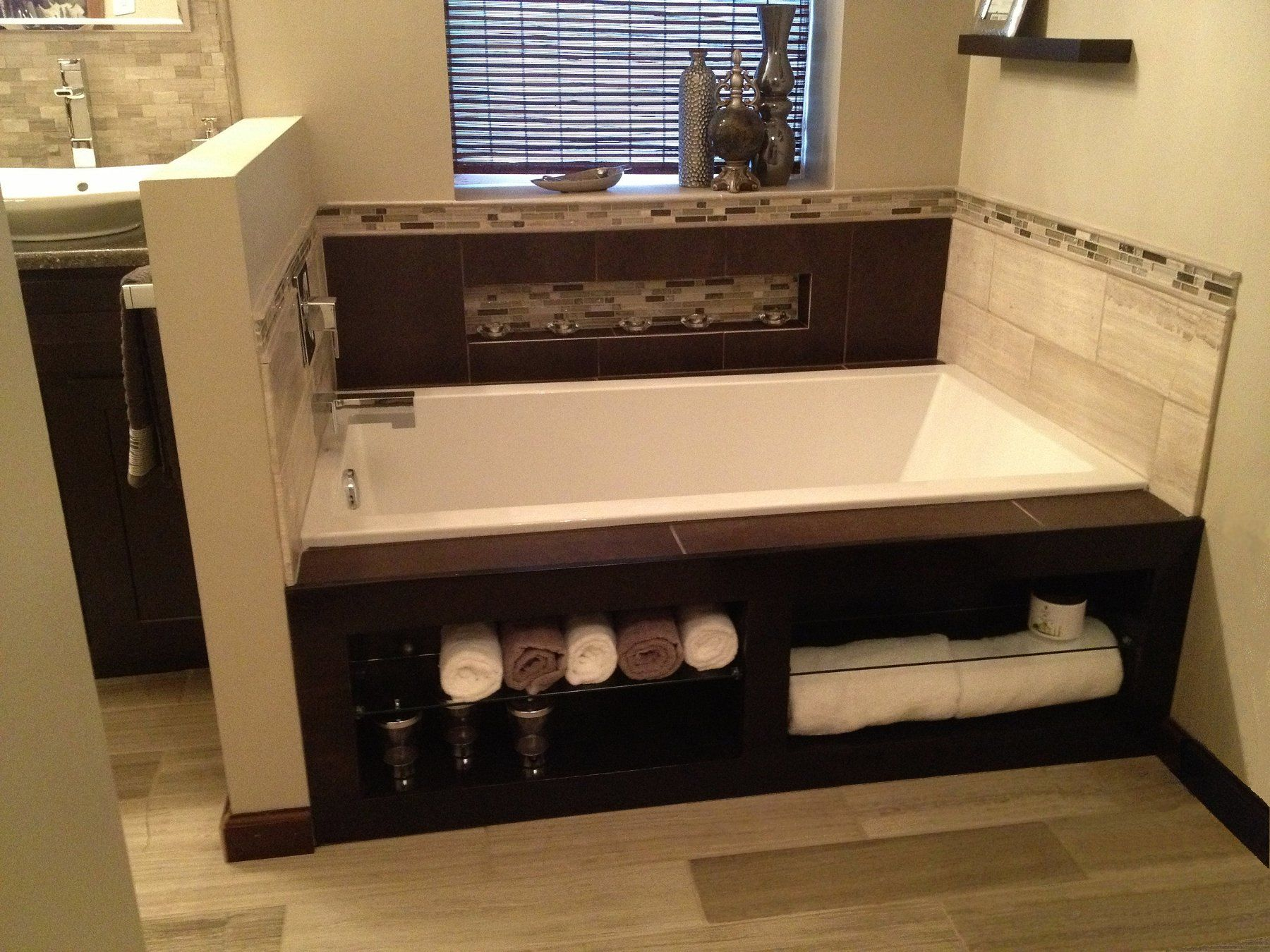 Saw this tub surround online and made it myself for much cheaper ...