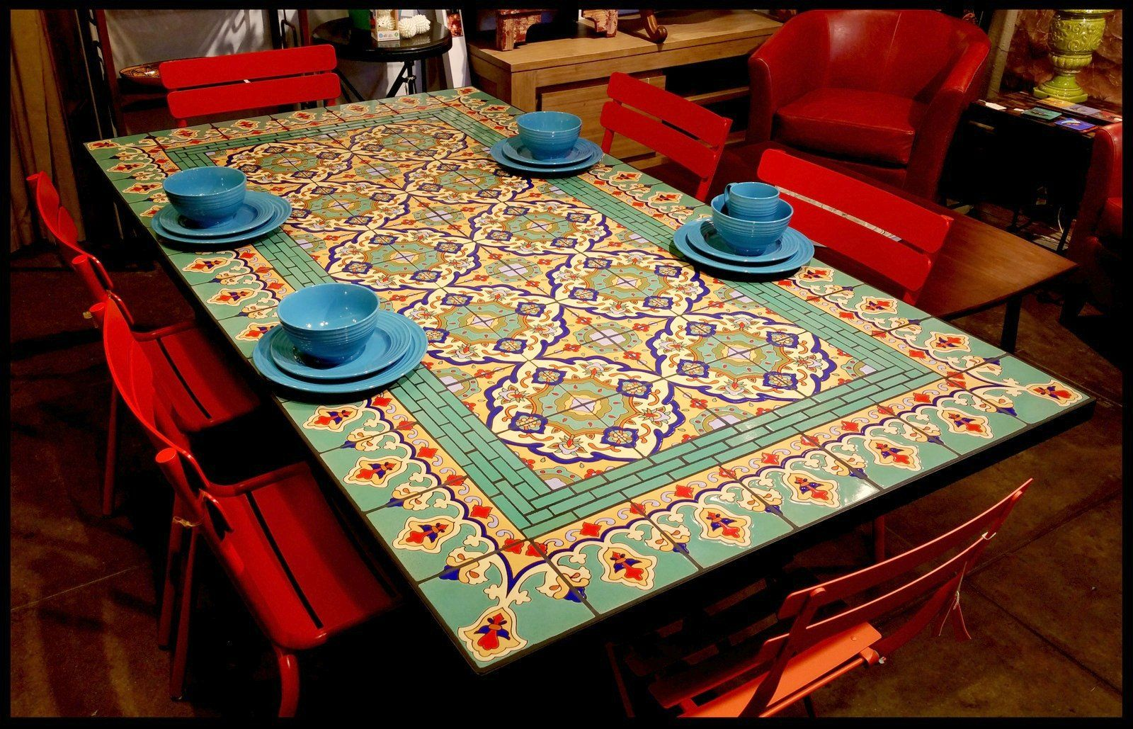 Beautiful Spanish Tile Table Furthur Wholesale Mosaic Dining Tables Dining Table Design Stenciled Dining Table Tile Tables