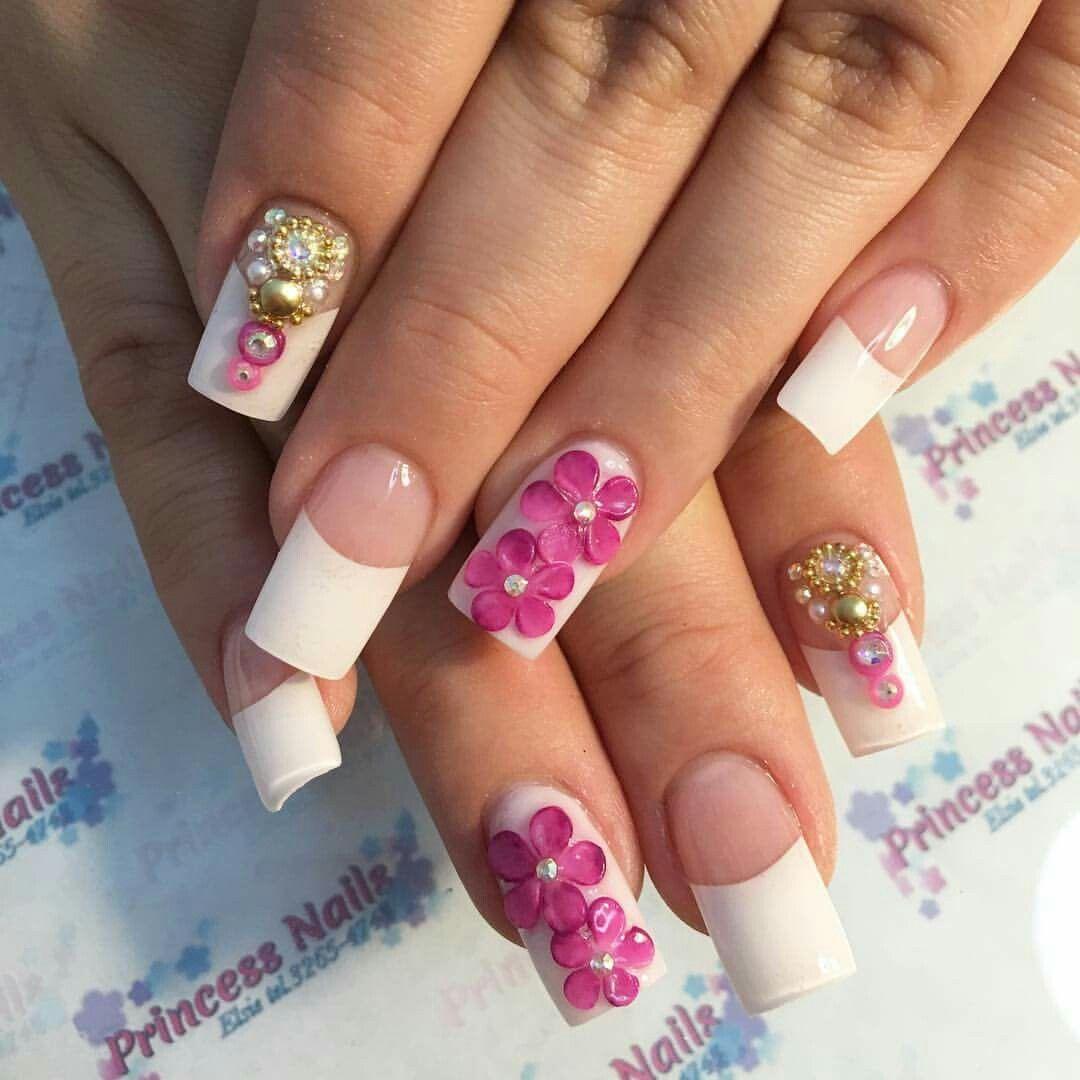 Unas Acrilicas Flores 3d Unas Manos En 2019 How To Do Nails Y Nails