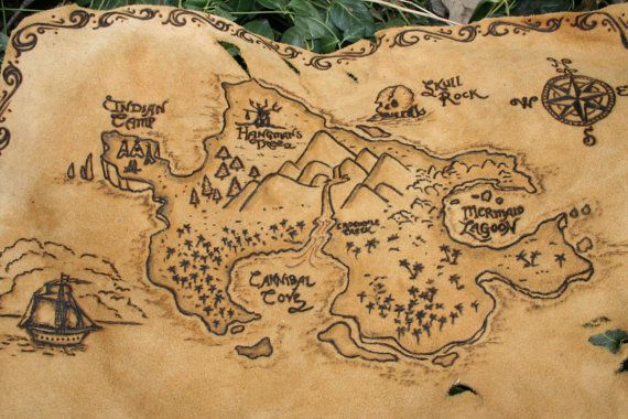 Peter Pan Neverland Leather Burned Treasure Map By Bluefoxwillow