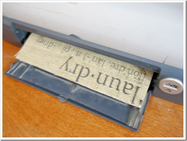 Burlap Laundry Sign…How to!  use your printer, fabric and freezer paper iron to the burlap