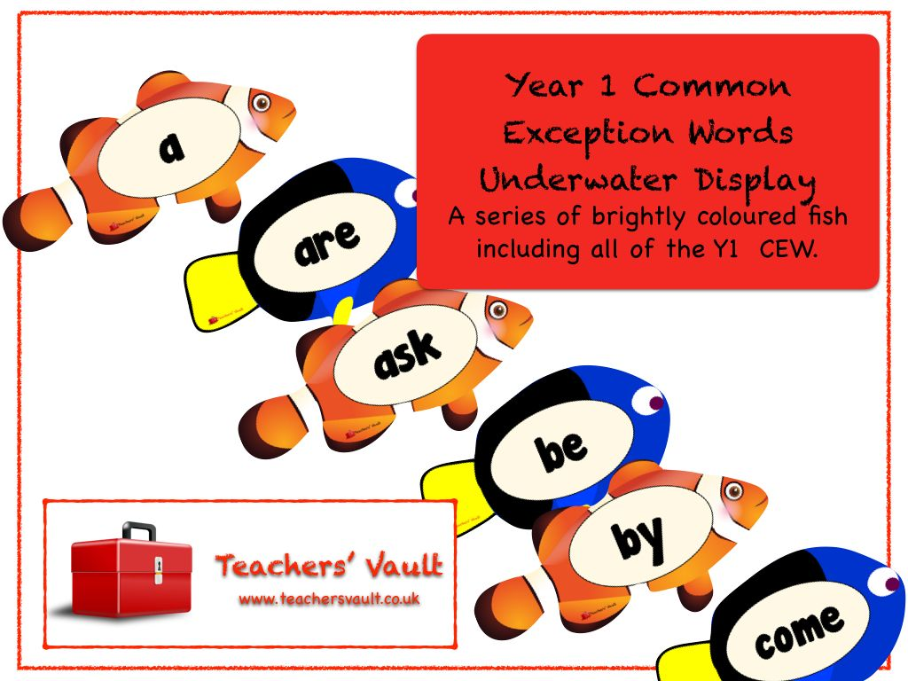 Year 1 Common Exception Words Underwater Display