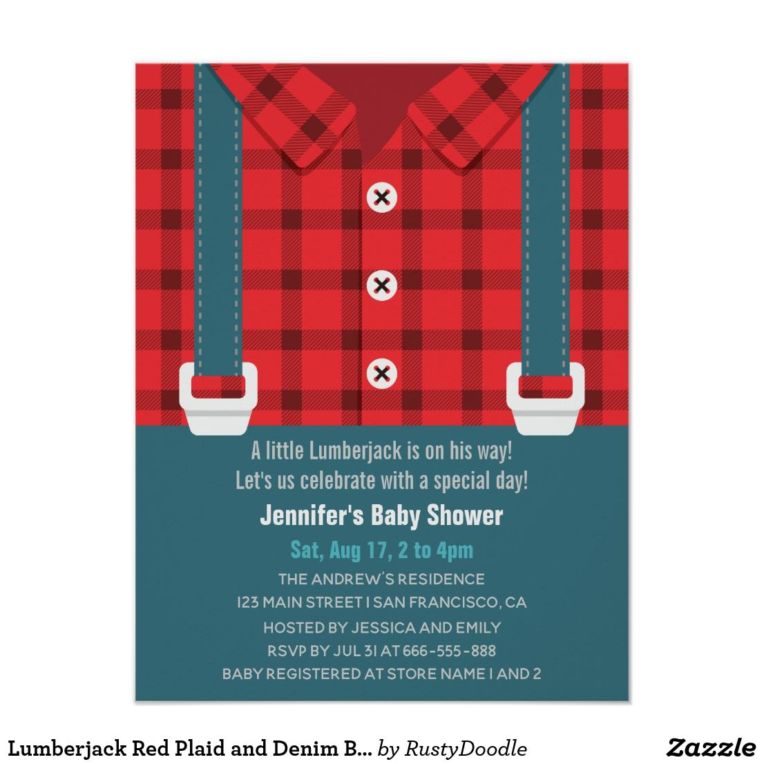 Lumberjack Red Plaid and Denim Baby Shower | Baby Shower Invitations ...