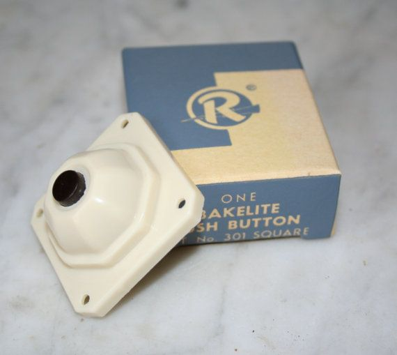 Alte Bakelit Tür Bell Button neu, Alter Lagerbestand In der Box Rodale Mfg Creme Bakelit Knopf Jahrgang Wiederherstellung