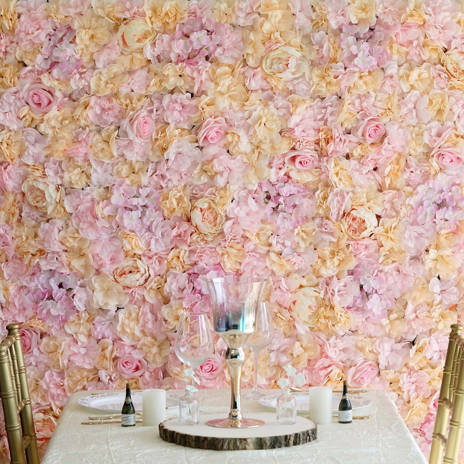 13 Sq Ft Set Of 4 Uv Protected Assorted Silk Flower Wall Panels Flower Wall Backdrop Pink Champagne In 2020 Flower Wall Backdrop Flower Wall Silk Flowers