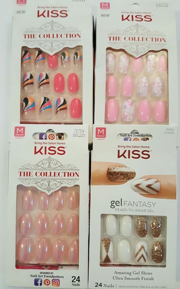 4 KISS Gel Fantasy +The Collection Nails Oval Assorted | Kiss and ...