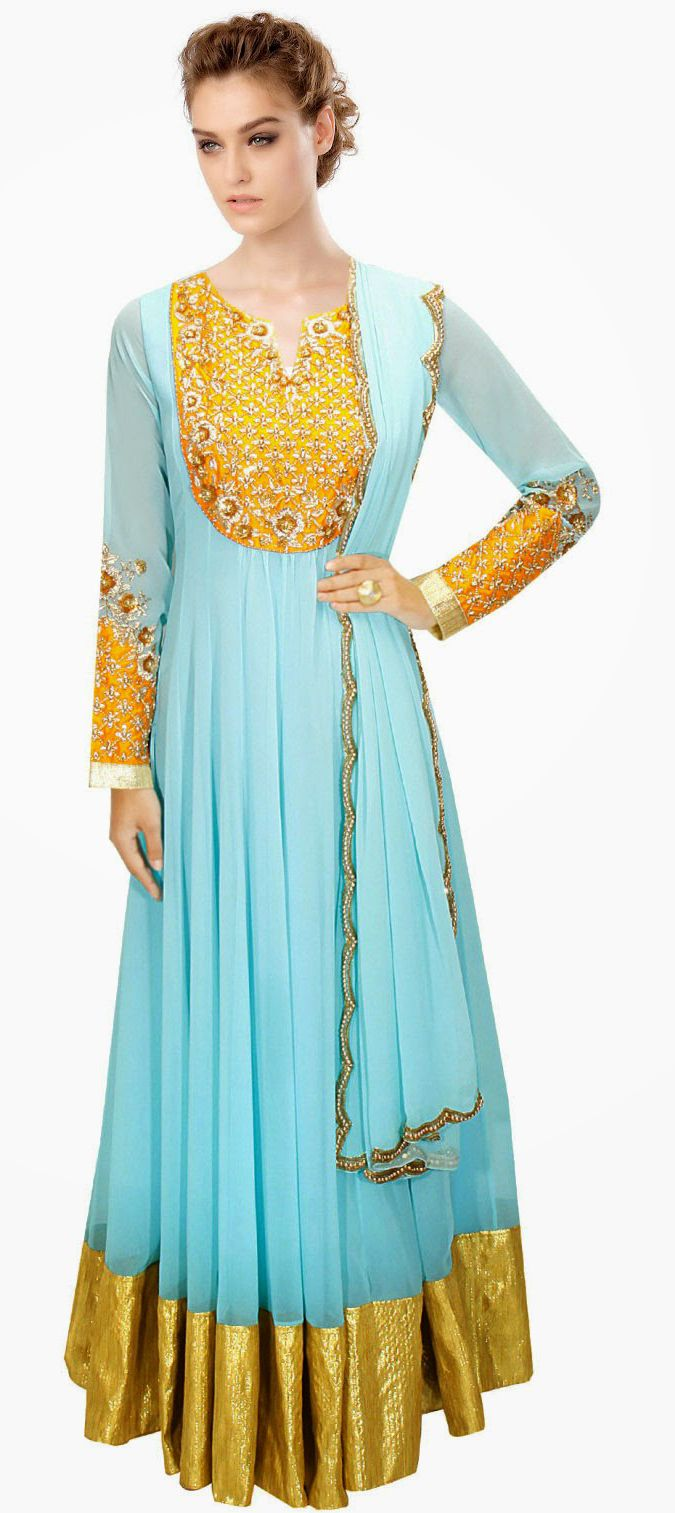 429279: Blue color family stitched Anarkali Suits. | Wedding ideas ...