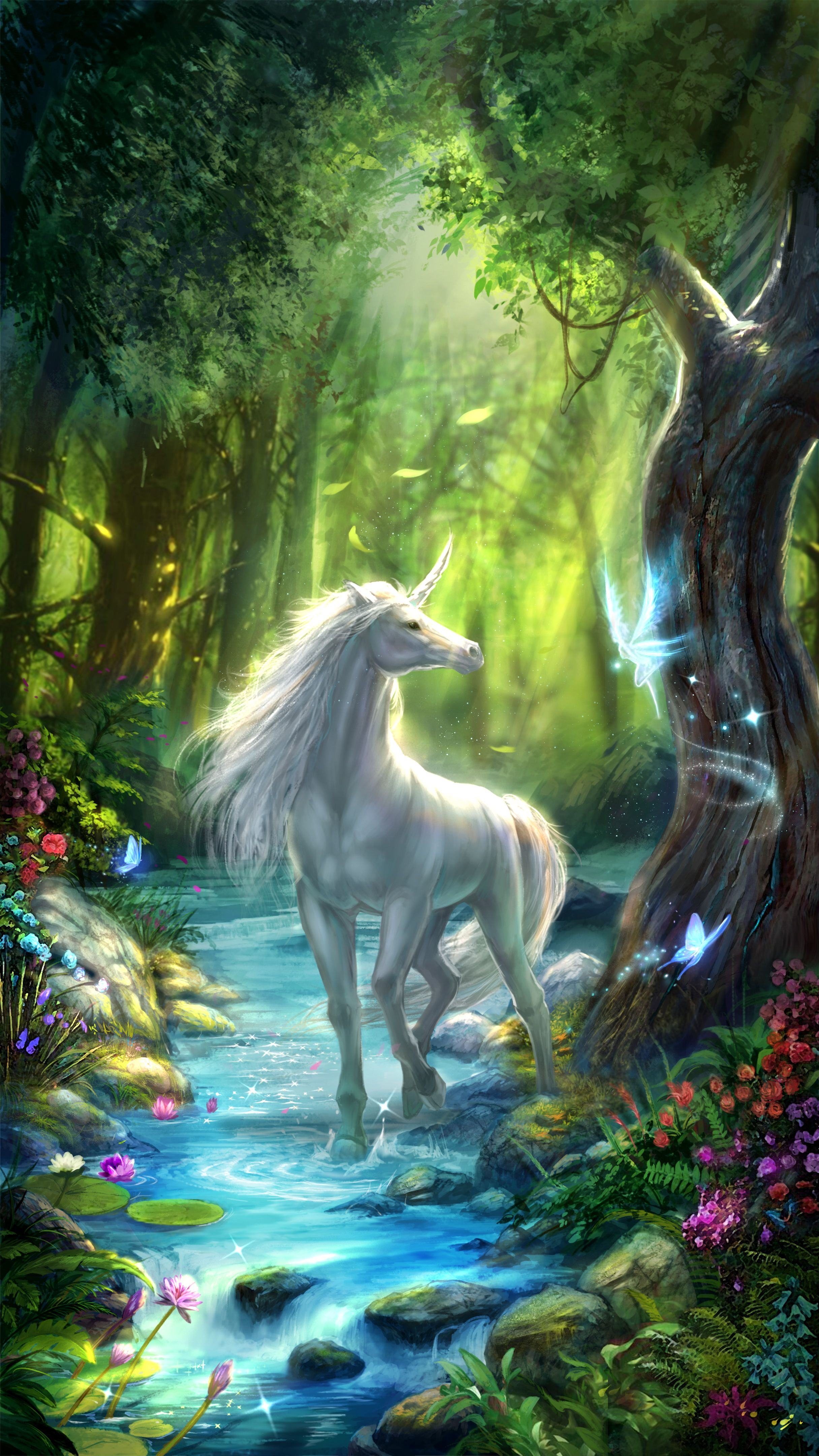 Unicorn live wallpaper, white unicorn in the fairy forest, very fantastic and dreamy! | Android ...