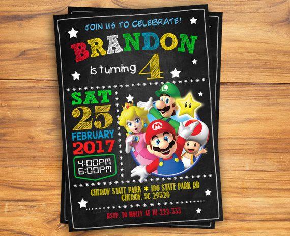 Loading Super Mario Bros Birthday Party Invitation Ticket Brothe