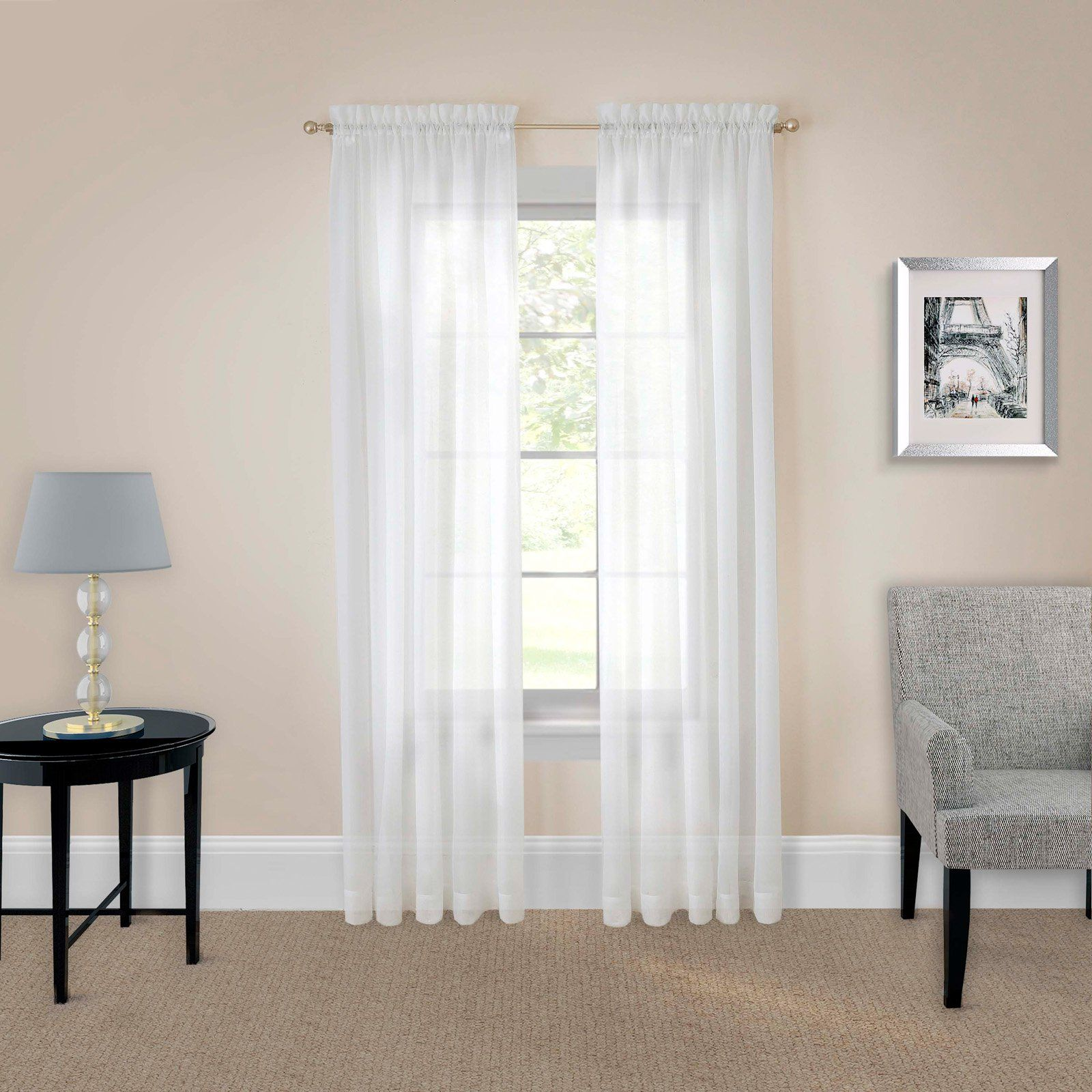 Pairs To Go Victoria Voile Curtain Panel Pair White Curtains