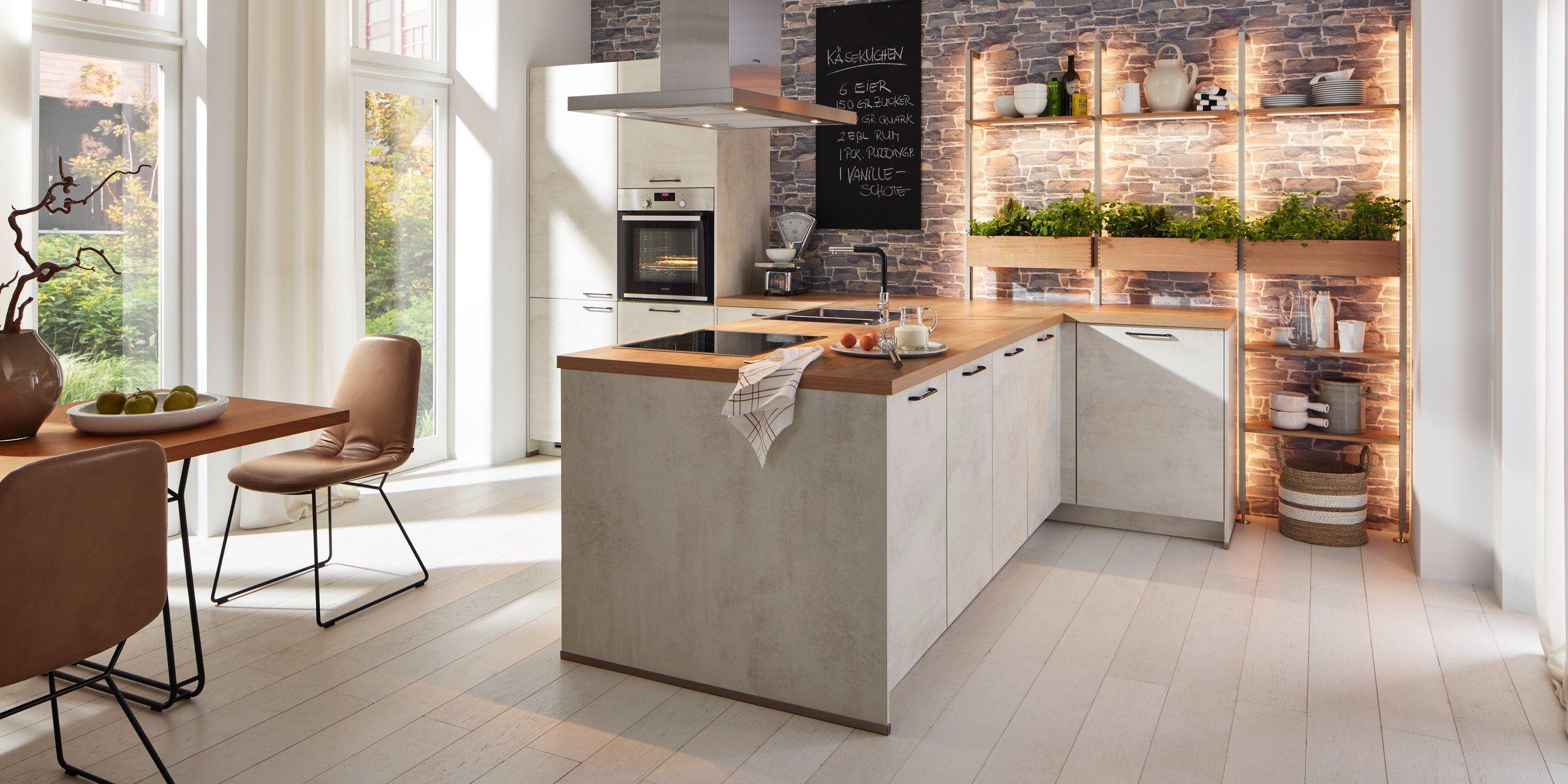 Moderne Küche in Weißbeton Küche Kräuterliebe in 2020